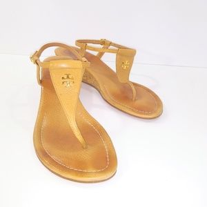 Tory Burch Tan T-strap Wedge Sandals Size 7M